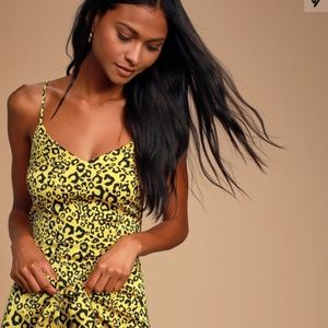 Yellow Leopard Print Dress